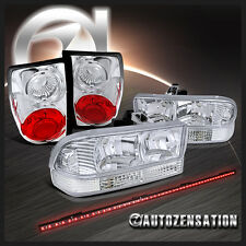 98-04 Blazer S10 Chrome Crystal Headlights+Bumper+Tail Lights+LED Tailgate Bar
