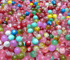 New 8MM 30pcs Loose Round Crackle Art Crystal Glass Round Charm Beads Mixed