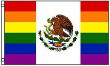 Mexico Rainbow Gay Pride Flag 3 x 5 Foot Banner LGBT Festival Mexican Sign New