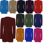 New Womens Ruched Pocket Button Cardigan Ladies Long Sleeve All Colours Top 8-14