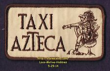 "LMH PATCH Badge TAXI AZTECA Cab Service Cartoon Logo Old Style Brown 4-1/2"" used"