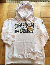 Mens white LTD EDITION DRUNKNMUNKY ''Sno camo' hoody loop back sweat, Large