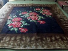 ANTIQUE CHASE HORSE DRAWN CARRIAGE LAP ROBE OR BLANKET ~ TULIPS ~ WOOL MOHAIR