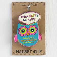 Natural Life CHCL035 Magnet Owl Clip, Think Happy Be Happy+ Thinking! Cute Tool