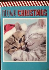 Paper Craft CHRISTMAS Cat Kitten Holiday Wishes Cards- Box of 12 Brand New