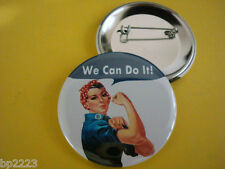 "Rosie the Riveter BUTTON Badge 2-1/4"" w/Pinback, We Can Do It! Inpirational, NEW"