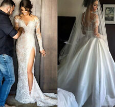 Sexy Split Lace Wedding Dresses With Detachable Skirt Long Sleeves Bridal Gowns
