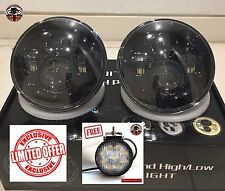 """Land Rover Defender 7"""" LED headlights x2 RHD E DOT Approved *FREE 27W REVERSE*"""