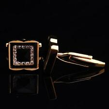 Men's Square Crystal Cuff Links mens Wedding party Gift Cufflinks Gold Silver