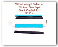 90 pcs 90oz 1oz Blue Tape Black Coated Adhesive wheel Weight Balance Lead Free