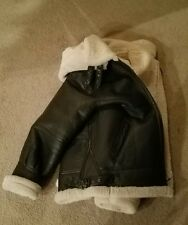black leather shearling bomber jacket