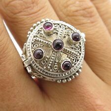 Vtg Sterling Silver Red Garnet Gem Large Handmade Women's Poison Ring Size 6