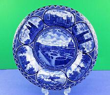 "Antique R&M Flow Blue Rolled Edge ""Souvenir of Montreal"" Cabinet Plate"