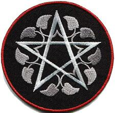 Wiccan pentagram pentacle white witchcraft goddess applique iron-on patch G-160