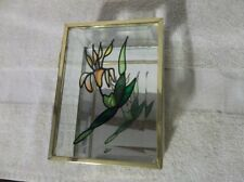 Clear Glass Beveled Hinged Box With Brass Trim