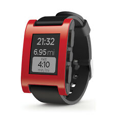 Pebble 301RD Correa de caucho negro rojo caso Smartwatch (ANDROID + IPHONE) - RRP £ 99