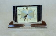 "SUPERB ORIGINAL ART DECO CHROME AND BAKELITE DESK CLOCK BY "" JAZ "" AND ONE OTHER"