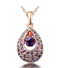 Amazing Gold Tone and Purple Rainbow Stones Tear Drop Pendant Necklace N392