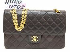 d3828 Discounted Auth CHANEL Black Lamb Skin DOUBLE FLAP Chain Shoulder Bag GHW