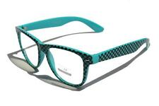 Teal turquoise Checker horned rim Clear Lens Sun-Glasses Nerd Emo