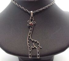"Fine Cut Out Giraffe Design Sterling Silver 925 Necklace 7g 18.5"" BCN2089"