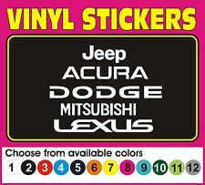 Jeep Acura Dodge Mitsubishi Lexus Window car truck vinyl decal sticker