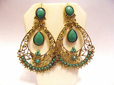 JACK E OHS OF NYC EXOTIC GOLD FILIGREE LIGHT TEAL CABOCHONS PIERCED  EARRINGS