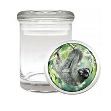 Cute Sloth Images D1 ODORLESS AIR TIGHT MEDICAL GLASS JAR CONTAINER