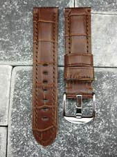 New 22mm Gator Grain Leather Strap Tang Buckle Watch Band MONTBLANC Brown 22