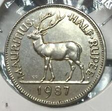 1987 Mauritius Half Rupee coin scare high grade