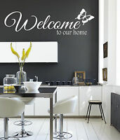 Welcome to our home butterfly Quote Stickers Wall Decals Living Room/Bedroom.