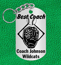 BASEBALL Coach Steel Keychain Gift, Personalized FREE with Coach's NAME & Team!