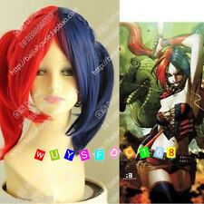Harley Quinn female clown wig cos Batman blue red mix color Cosplay Wig