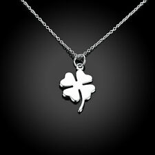 New 925 Sterling Silver Filled Cute Four Leaf Clover Lucky Pendant Necklace