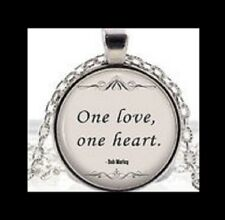 "NEW - BOB MARLEY MUSIC LYRICS QUOTE ""ONE LOVE, ONE HEART"" GLASS PENDANT NECKLACE"