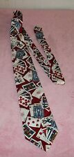 """POKER PLAYING CARDS NECK TIE  MARKED """" TABASCO"""" 100% SILK, MADE IN THE USA F/ S"""