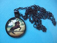 Bay Horse Necklace & Pendant Glass Metal Chain Rearing Wild Pony Stallion