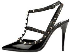 NEW VALENTINO GARAVANI ROCKSTUD BLACK PATENT LEATHER ANKLE STRAP SHOES 39.5
