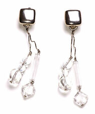 UNIQUE ABSTRACT INSPIRED LADIES LARGE STATEMENT EARRINGS CLEAR STONES (ZX10)