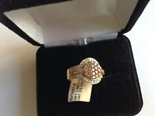 10KT GOLD 1.00 CTW CHAMPAGNE AND WHITE DIAMOND RING SIZE 9 NEW