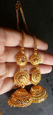 22K Gold Plated 3 Steps Long Chain Indian Jhumka Jhumki Earrings ball Party Set