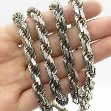 Italy 925 Sterling Silver Long Thick Heavy Twisted Rope Chain Necklace 29""