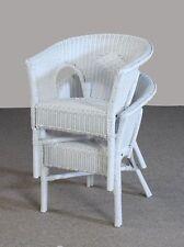 Rattan Stuhl neu weiß Sessel Korbsessel stapelbar zweier Set