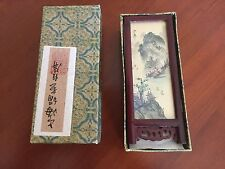 Vintage Japanese Four Panel Miniature Folding Screen Artist Signed