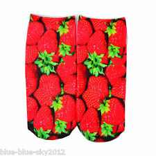 STRAWBERRIES 3D Photo Trainer short SOCKS, UK Shoe Size 3-7 1 pair Cotton Blend