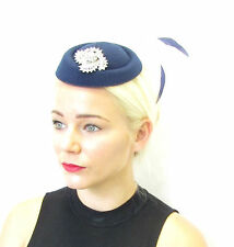 Navy Blue Silver Feather Pillbox Hat Fascinator Races Vintage Hair 1940s 30s 577