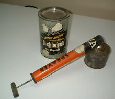 VINTAGE 1950'S MOTHBALLS CAN TIN PESTASIDE SPRAYER TIN