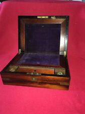 Antique Mahogany Lap Desk Box Ca. 1850's Complete With Inks Bottles Brass Inlay