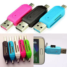 2-in-1 OTG SD Micro USB 2.0 T-Flash Memory Card Reader Adapter For PC Samsung A+