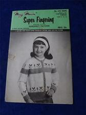 GIRLS TULIPS CARDIGAN PATTERN MARY MAXIM SUPER FINGERING HANDKNIT GRAPH STYLE